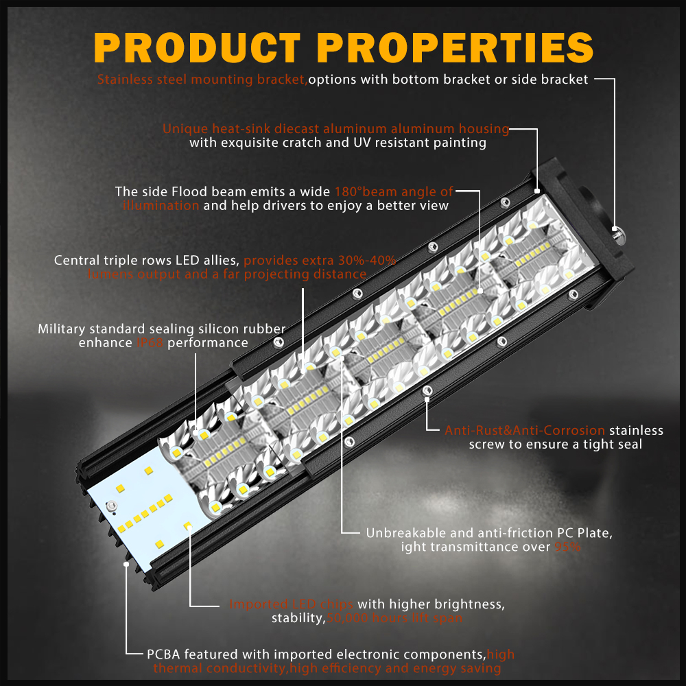 "Image 2 - CO LIGHT 22"" 32"" 42"" Offroad 4x4 Led Bar 3 Rows Spot Flood Led Light Bar 12V 24V 390W 585W 780W Work Lights for Tractor Jeep ATV-in Light Bar/Work Light from Automobiles & Motorcycles"