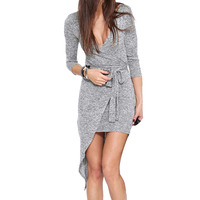 TFGS 2016 Women S High Quality Semi Formal Brand Grey Sexy Bodycon Long Sleeve V Neck