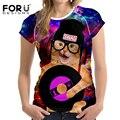 FORUDESIGNS 3D Universe Space Galaxy Women Tshirts Funny Animal Cat Dog Printing Short Sleeves Summer The Big Bang Theory Tee