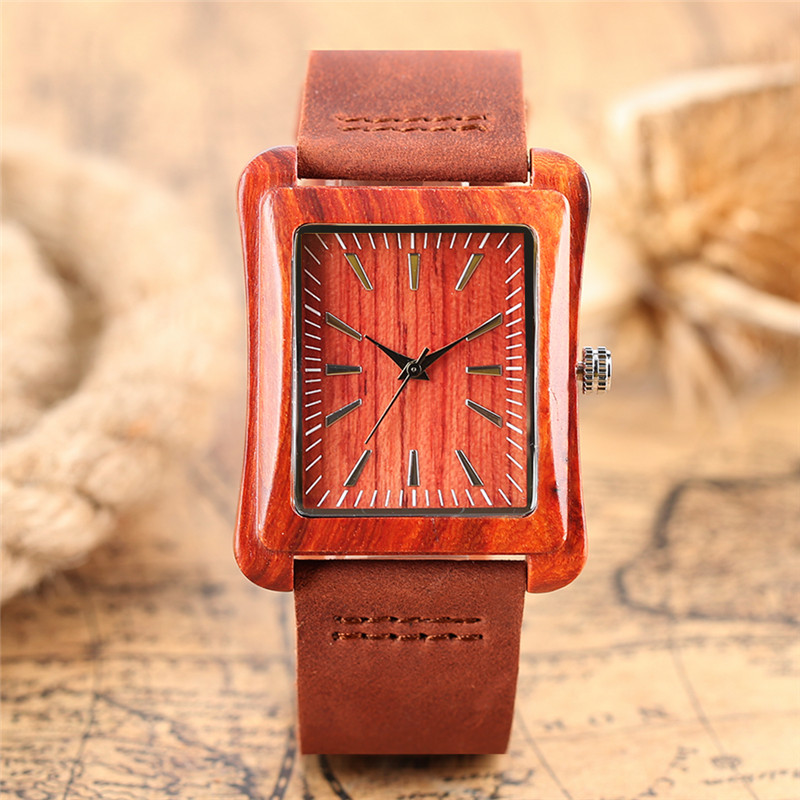Simple Fashion Hand-made Wooden Design Wristwatch 2 Colors Rectangle Dial Genuine Leather Band Casual Men Women Watch Best Gift sweets made simple