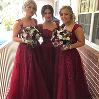 Удивительно Бургундия Аппликации Длинное Платье Невесты Империя Сказочные Невесты Женщины Платья Красивые Строки Невесты Вечернее Платье