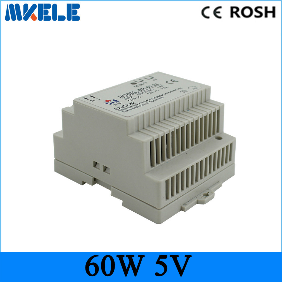 Free Shipping Din rail power supply 60w 5V power suply 5v 60w ac dc converter dr-60-5 good quality from china factory ac dc dr 60 5v 60w 5vdc switching power supply din rail for led light free shipping