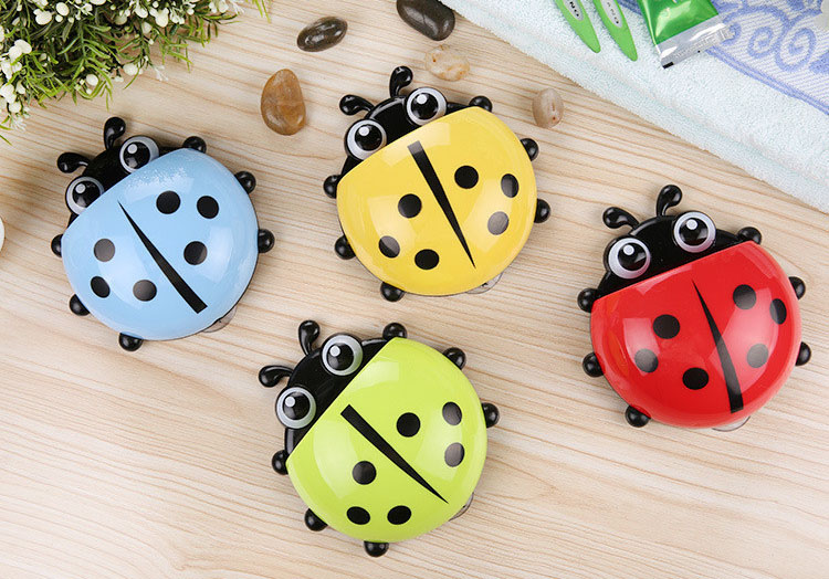 1pc Cute Novelty Ladybug Toothbrush Holder Toiletries Toothpaste Holder Bathroom Sets Suction Tooth Brush Container Bathroom Shelves Home Improvement