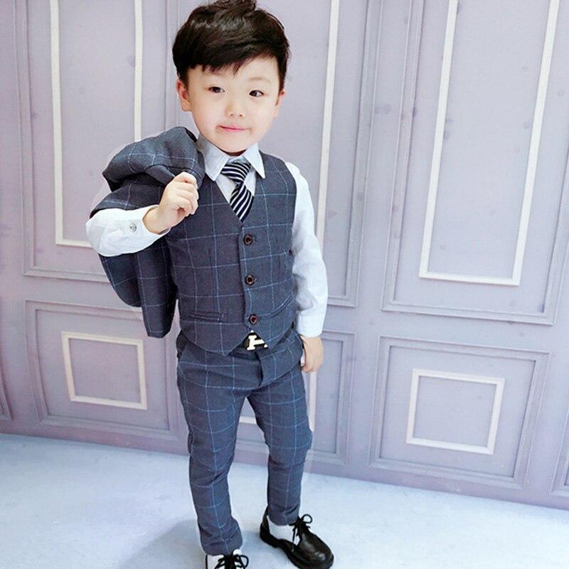 3pcs/set Boys suits for weddings grid Jackets Formal Coat+Pants+Vest children's suit baby boys blazer formal outfit kids tuxedo