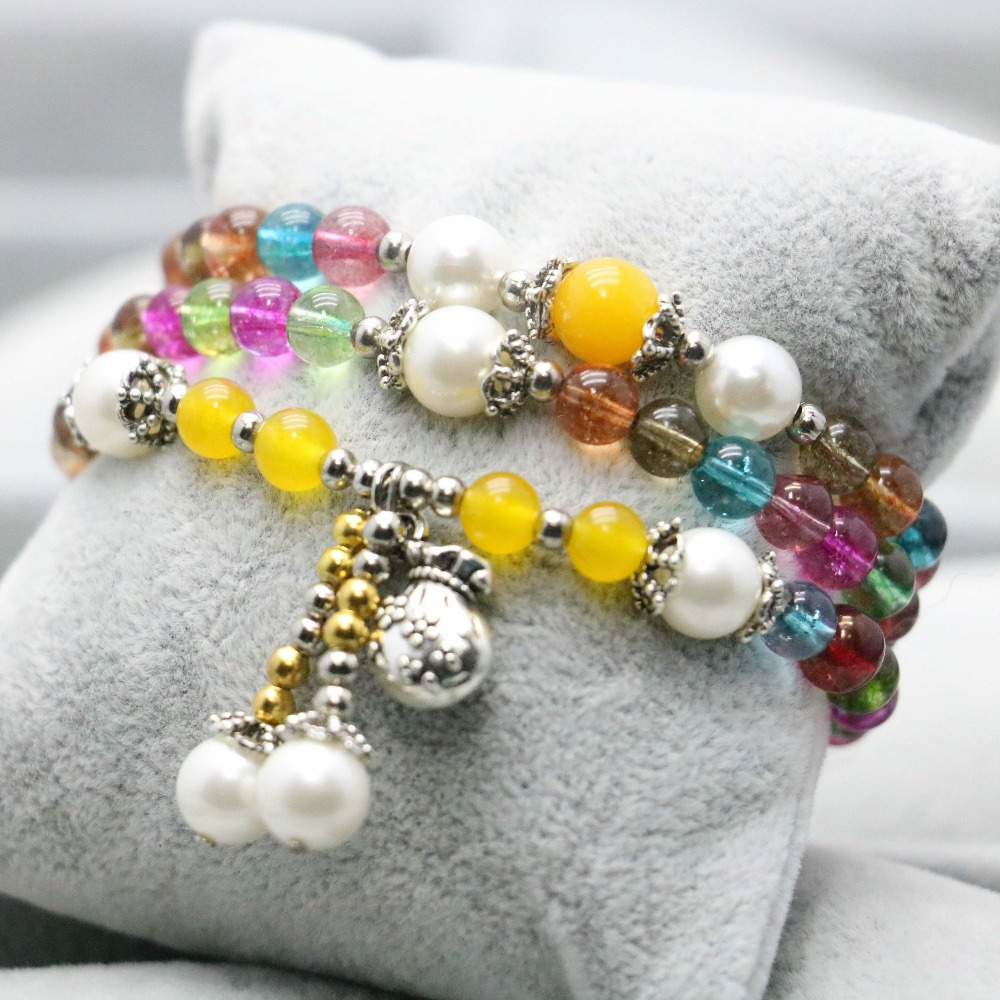 0885aa971d 6mm estilo étnico colorido turmalina Calcedonia cristal pulsera cadena de  la mano para las mujeres niñas perla colgante Accesorios