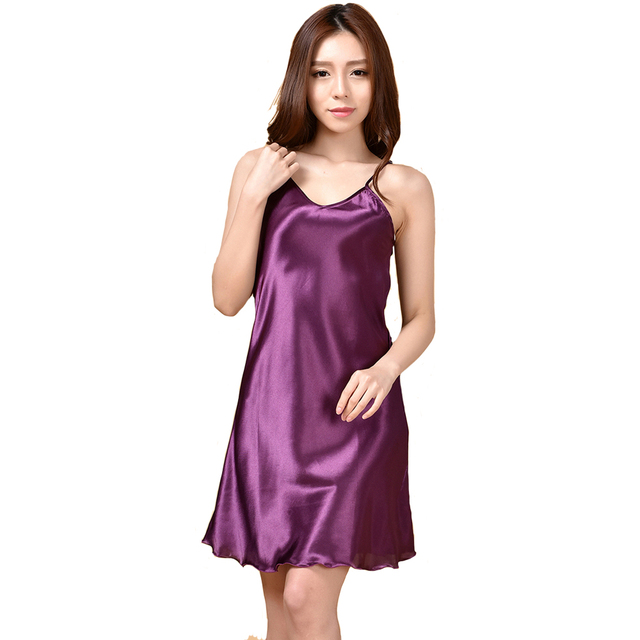 Summer New Women s Sleepwear Female Sexy Spaghetti Strap Nightgown Plus Size  XXXL Rayon Nightdress Short Robe ca5a4b834