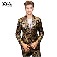 Luxury Golden Floral Printed Mens Suit Costume Large Size 5XL Wedding Dress Terno Blazer Jacket+ Pants Office Party Tuxedo Sets