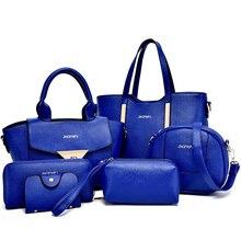 2017 bolsos de las mujeres bolso de cuero multicolor mujeres messenger bags ladies marca diseños Del Bolso + Messenger Bag + Bolso 6 Sets