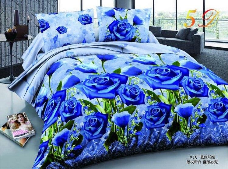 3D Blue Rose Bedding sets BLUELOVER Queen size quilt duvet cover set bed in a bag sheet spread bedspreads doona Full double 4PCS