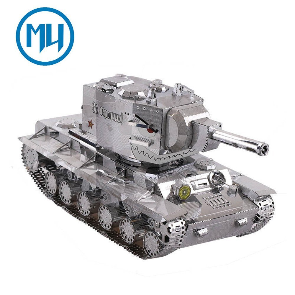 2017 MU 3D Metal Puzzle War 2 Russia KV 2 Tank Building Model Kit YM-N022-S DIY 3D Laser Cut Jigsaw Toys For Gifts