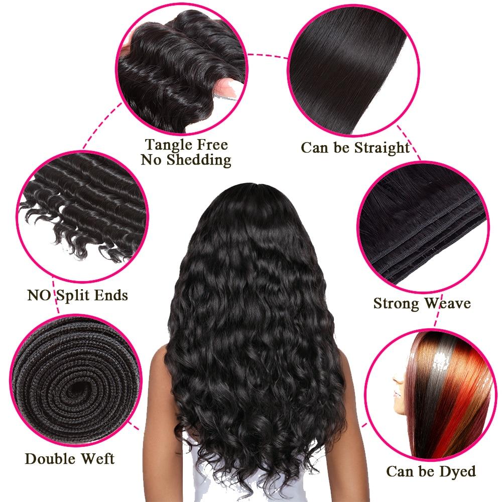 Queen Hair Lose Deep More Wave Brasilianische Haarwebart bündelt - Menschenhaar (für Schwarz) - Foto 2