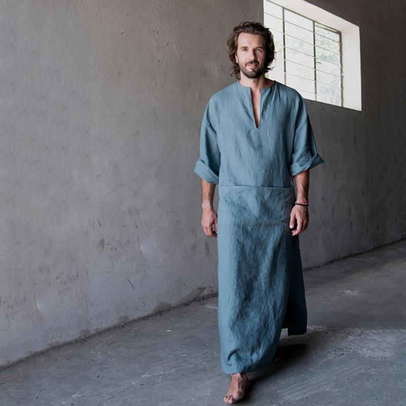 Mens Natural Linen Cotton Ultra Long Floor Length Robes Bathrobes Lounge Wear Casual Kaftan Thobe V Neck Long Gown Caftan Tunic