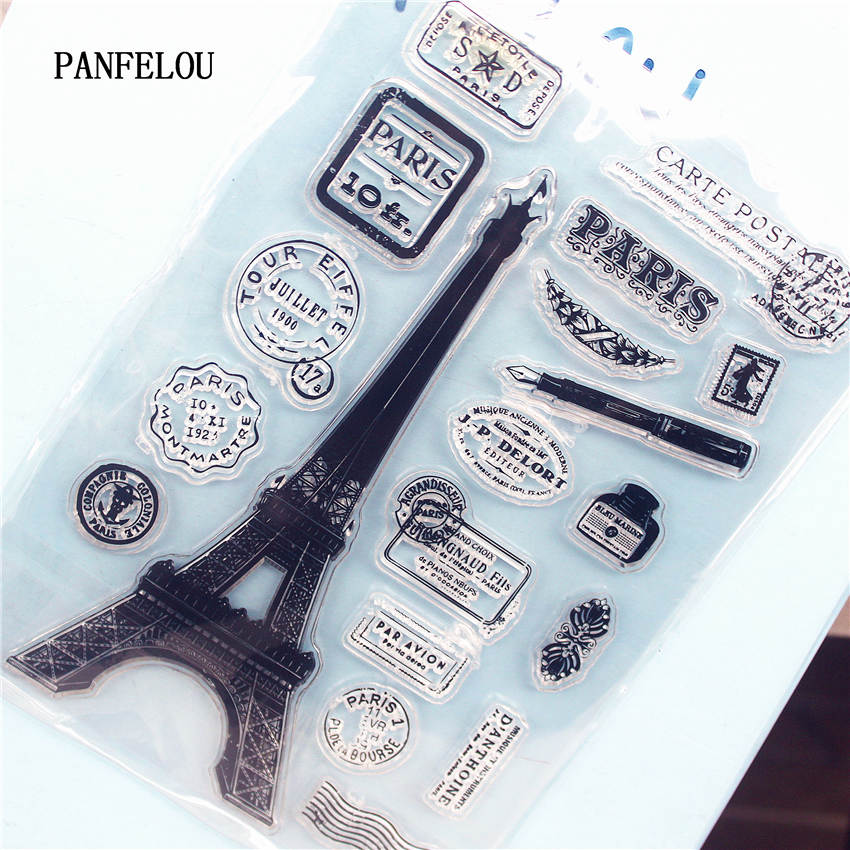 PANFELOU The Eiffel Tower Clear Stamp DIY Silicone Seals Scrapbooking/Card Making/Photo Album Decoration Supplies sheets series s 3d puzzle paper diy papercraft double decker bus eiffel tower titanic tower bridge empire state building