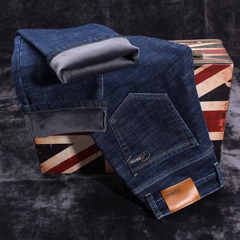 Image 4 - Новые мужские брендовые джинсы, зимние мужские теплые джинсы,  деловые повседневные Прямые Стрейчевые плотные тонкие джинсовые штаны  черного и синего цвета, большие размеры 28 40Джинсы