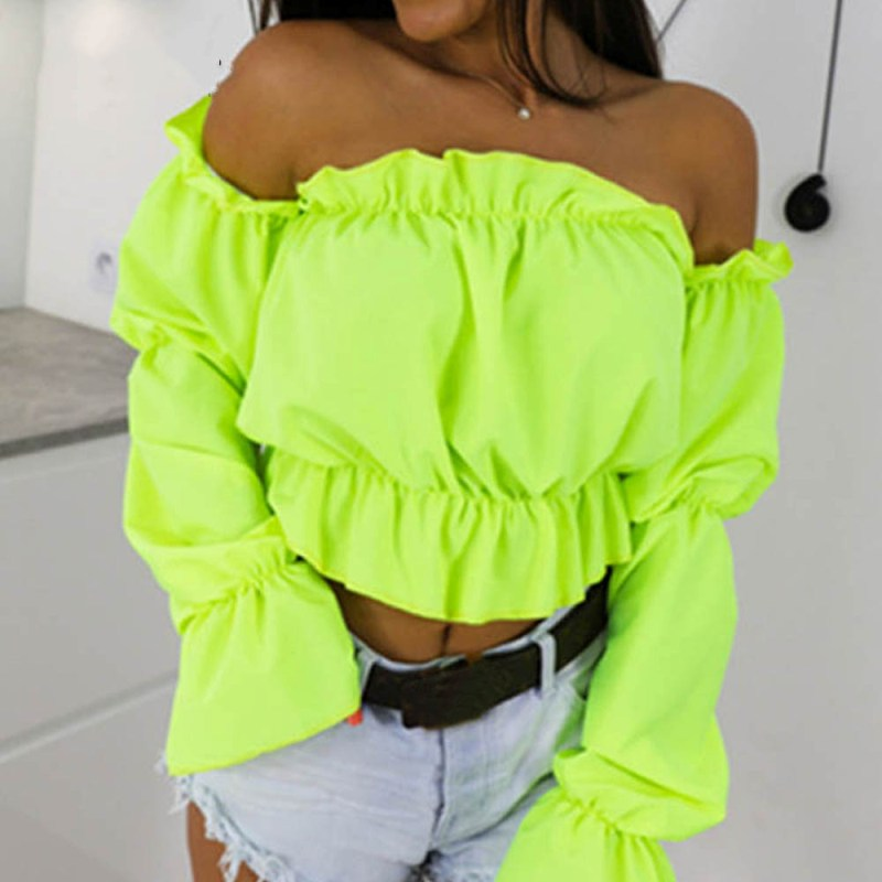 Clearance Sale¿Shirts Lantern-Sleeve Crop-Tops Beach-Blouse Slash Neck Dot Print Candy-Color Sexy Off-Shoulder