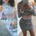 2017 New Fall Embroidery Beaded Fringe Dress Sexy Celebrity Runway Winter Handmade Offer Shoulder Vintage Tassels Baroque  Dress