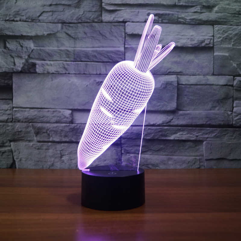 3D Rabbit Carrot Vegetables toys Visual Lamp Color Changing LED Night Light Illusion Table Lamp For Kids Baby Bedroom in LED Night Lights from Lights Lighting