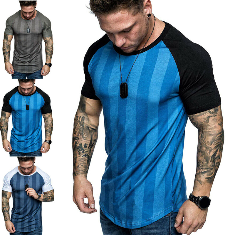 Men Gym Tight Tops T-Shirt Short Sleeve Male Slim V-Neck Casual M-3XL Plus Size`