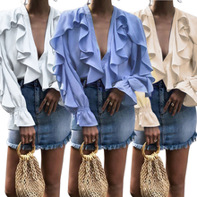 Women Blouses Lace Wooden Ear Edge Horn Sleeve Solid Color V-neck Bottom Shirt рубашка женская S-XL Size ropa mujer verano D30