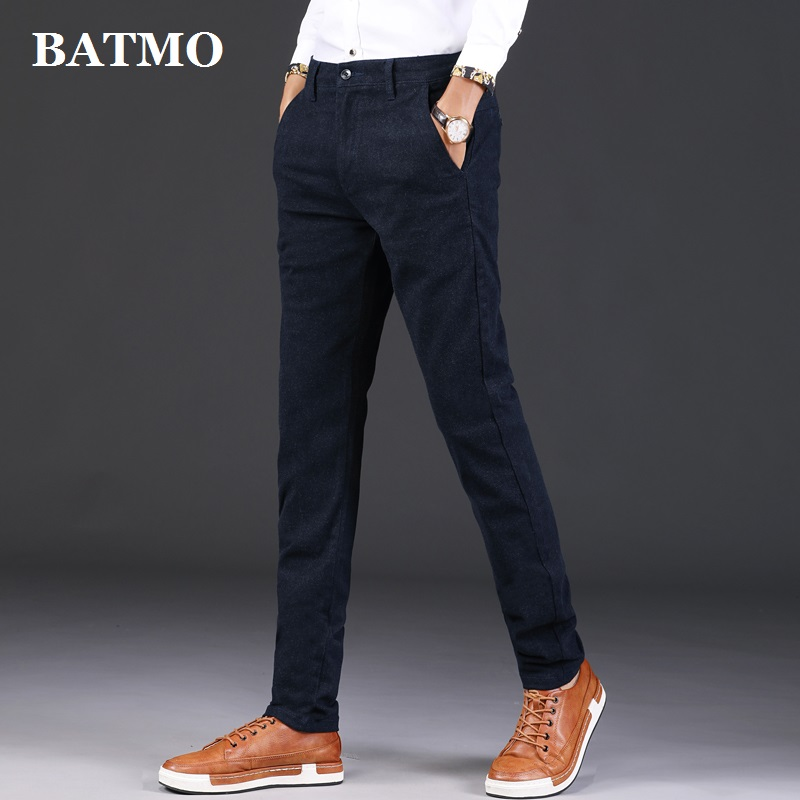 BATMO 2019 new arrival  high quality smart casual pants ,men's Straight trousers ,plus-size 889