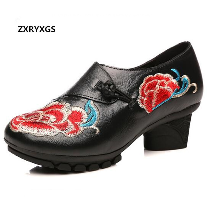 ZXRYXGS brand shoes Wedding Embroidered Cow Leather Shoes Woman New high heels 2019 Elegant Fashion Shoes