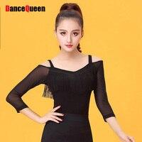 Cheap Latin Dance Shirt For Ladies Black Color Long Sleeve Silk Braces Wears Woman Modern Feminine