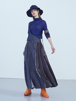 IRINAY197 2019 ss collection original design one shoulder a line long denim skirt women