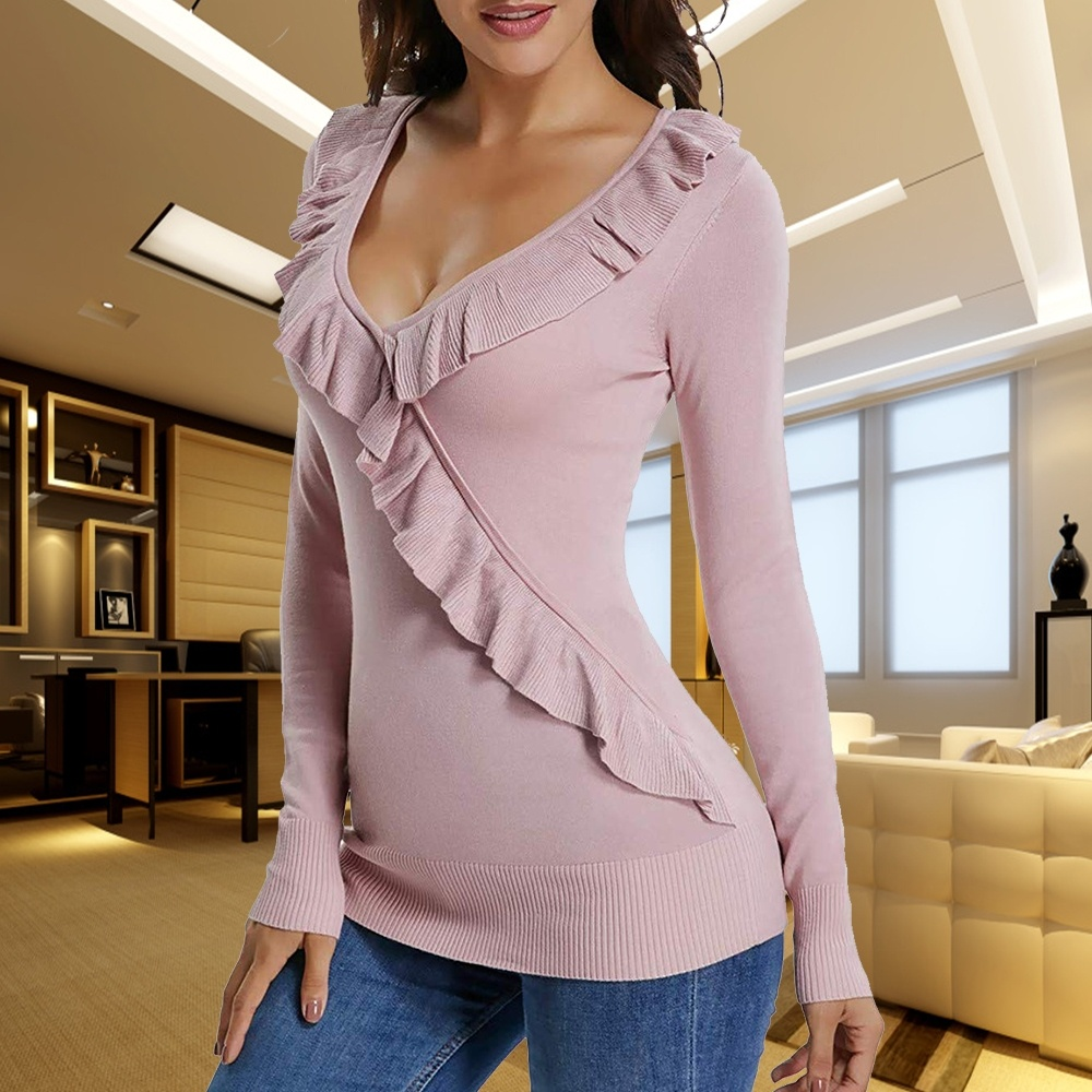 E Gota Knit Collar Ruffle Pink Tops Suéter Neck La Invierno Otoño Del Mujeres Blusa V Envío Crossover De 1A8BWqnd