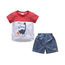 Baby Clothes Boy Set Cotton Dinosaur Cartoon Tshirt Tops+ Short Jeans 2pcs/Set Childrens For Boys