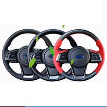 lsrtw2017  carbon fiber leather car steering wheel cover for subaru forester xv legacy outback 2016-2020
