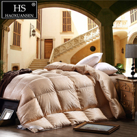 HS Filling Power 800 95% Goose Down Filling Comforter Mulberry Silk Jacquard Fabric Golden King Size Quilt Home Bedroom Bedding