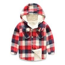 Children's Pattern Boys Shirt Cotton 3 Color Kids Check Plus Velvet Shirts 2016 Long Sleeve Blouses on cap Thickening Blouse AU