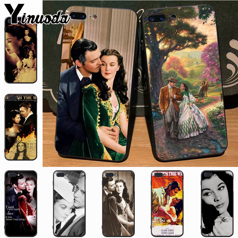 Yinuoda Gone With The Wind fashion design skin thin black cell Case for Apple iPhone 8 7 6 6S Plus X 5S 11pro SE 5C case Cover