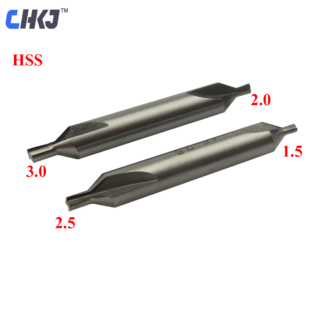 CHKJ 1.5-2.5mm/2.0-3.0mm HSS Center Drill Bits 2 Flutes Countersink Drills Tool for DEFU Key Cutting Machine Locksmith Supplies