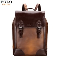 VICUNA POLO Vintage Cover Open Brown Men School Backpack Fashion Mens Leather Back Pack Mochila Retro