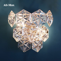 Foreign Trade Lighting Art Geometric Glass Diamond Wall Lamp Project Hotel Club Model Indoor Lamp Living