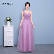 One Shoulder Bridesmaids Dresses With Flower Somple Tulle Long Wedding Party Gowns Robe Demoiselle D'honneur