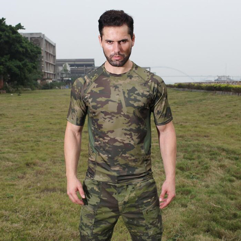 f7b7c5dc Summer Camouflage T-Shirt Quick Dry Breathable Tights Army ...