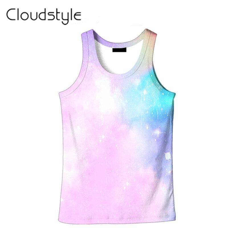 Cloudstyle 2019 New 3D   Tank     Tops   Men Pink Sky 3D Print Vest Harajuku Sleeveless Mens   Tanks   Tee   Tops   Cool Active Plus Size 5XL