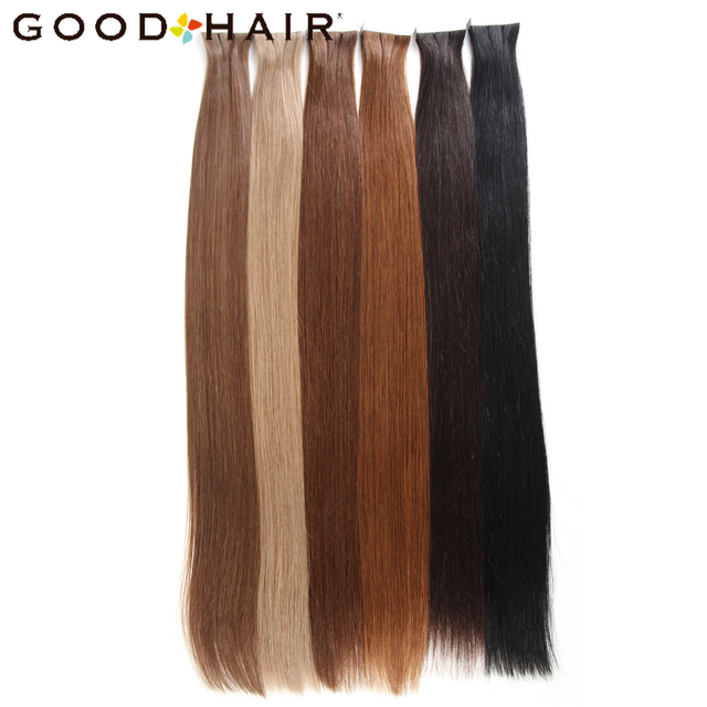 GOOD HAIR 20pcs Pack Tape In Human Hair Extensions Brazilian Straight Non Remy