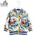 Розничная 2-8 лет пальто печати полный рукава Плюс бархат утолщение Бейсбол одежда дети дети весна осень осень зима