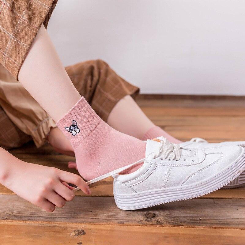 New Cute Cartoon Dog Cotton Women Socks Fashion Embroidery Boutique Socks High Quality Autumn Winter Lovely Socks