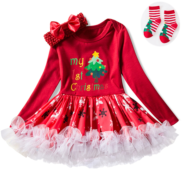 d3ee582235e1b Newborn Girls First Christmas Dresses Infant Princess Girl Santa Tree  Printing Dress Christmas Clothes Sets Free Christmas Sock