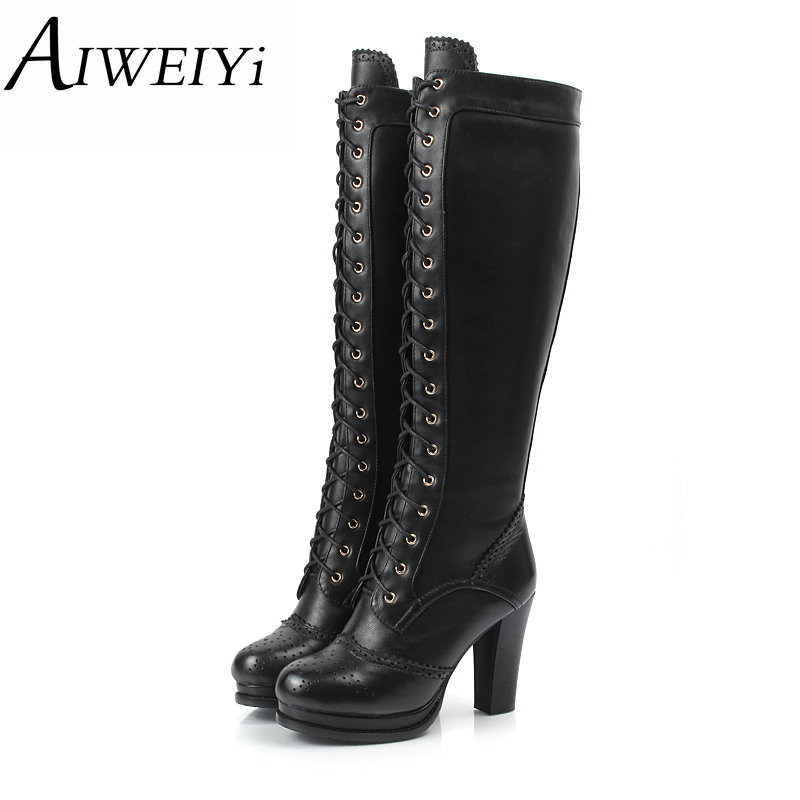 AIWEIYi Winter Boots Shoes Woman High Quality Sexy Women Thigh High Boots Lace Up Knee Boot High Heel Retro Knight Boots
