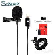 Microfone lightning lavalier profissional, 6m, para iphone xs x/8/8 plus/6/7 plus, ipad 4/3/2 ipad pro ipad air2 para huawei sumsang