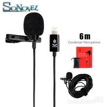YC LM22 micrófono profesional Lavalier Lightning para iPhone, XS X/8/8 Plus/6/7 Plus, iPad 4/3/2, iPad Pro, iPad Air 2, iPod Touc, 6m