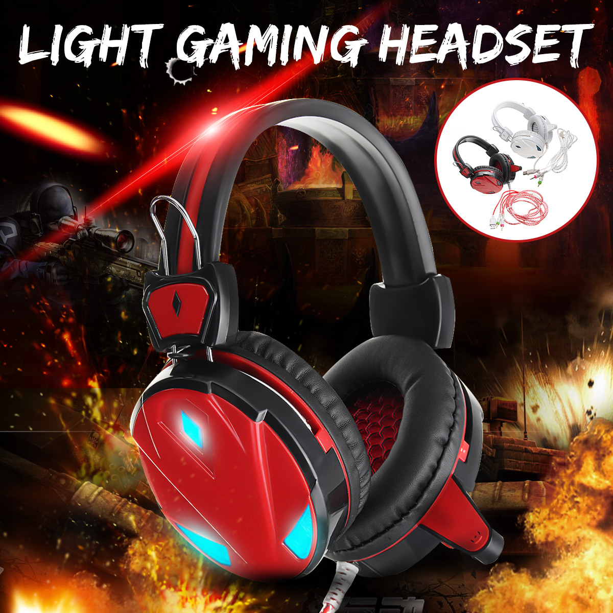 Kinco 3.5mm USB Luminescence Light Gaming Headset Mic LED Headphone For PC Laptop Tablet With Microphone Earphones 2.5m Cable