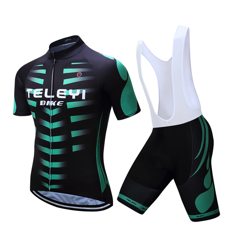TELEYI Cycling Bike Bicycle Sports Clothing Men Suit Short Sleeve Jersey Shorts Sets Black S-4XL nuckily ma008 mb008 men short sleeve bicycle cycling suit