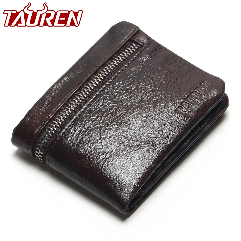 TAUREN Genuine Leather Mens Wallets Brand Logo Zipper Design Short Men Purse Male Clutch With Card Holder Coins Purses Wallet 2017 new brand mens wallet double zipper genuine leather bag vintage solid clutch bag phone cases male coins purses wallet