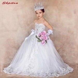 Białe koronkowe kwiatowe sukienki dla dziewczynek na przyjęcie weselne Tulle Flowergirl pierwsza komunia suknie na konkurs piękności na weselne dla dziewczynek Kid